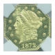 1872 OCTAG LIBERTY California Fractional Gold BG-725 G25C NGC MS63PL (STAR)